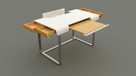 The same table again to illustrate the functionality of all drawers and lids.