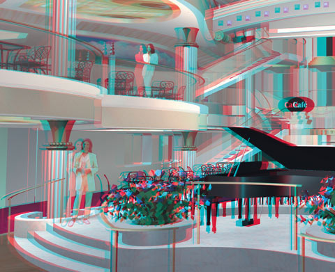 Stereo-Image of the interior of a cruise ship - designed with PYTHA